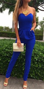 Blue Plain Bandeau Pockets Elegant Long Jumpsuit