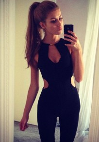 Black Plain Cut Out Backless Mid-rise Long Jumpsuit