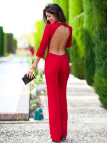 Red Plain Cut Out Perforate Nightclub Backless Bandage Bodycon 3/4 Sleeve Long Jumpsuit