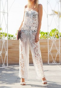 White Plain Lace Bandeau Hollow-out Drawstring Fashion Long Jumpsuit