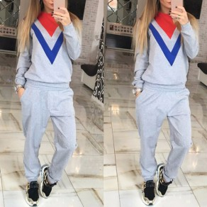 Grey Color Block Geometric Pockets 2-in-1 Long Jumpsuit