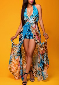 e4b7f198804 Blue Floral Print Halter Neck V-neck Plunging Neckline Backless Swallowtail Maxi  Chiffon Romper with