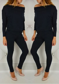 Black Plain Pockets Boat Neck Long Sleeve Long Jumpsuit