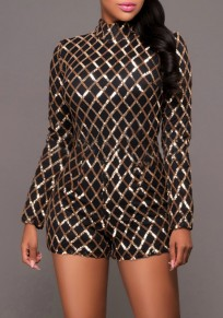 Black Plaid Golden Sequin Homecoming Party Band Collar Short Bodycon catsuit Romper