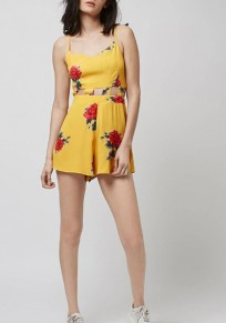 Yellow Flowers Print Cut Out Spaghetti Straps High Waisted Short Jumpsuit