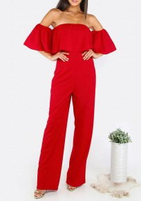 Red Plain Bandeau Ruffle High Waisted Long Jumpsuit