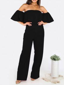 Black Plain Bandeau Ruffle High Waisted Long Jumpsuit