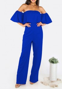 Blue Plain Bandeau Ruffle High Waisted Long Jumpsuit