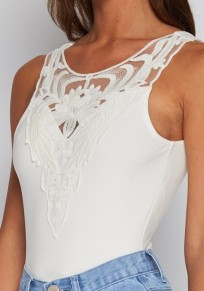 White Patchwork Hollow-out Lace Backless Short Jumpsuit