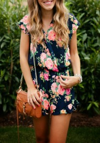Black Floral Ruffle Sewing High Waisted Short Jumpsuit