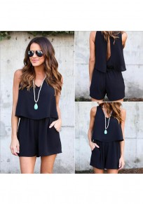 Black Plain Cut Out Pockets Backless Short Jumpsuit