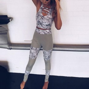 Grey-White Patchwork Floral Print Stretch Yoga Sock Casual Sports Legging