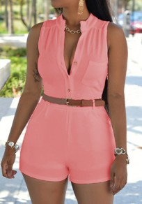 Pink Plain Pockets Single Breasted Short Jumpsuit