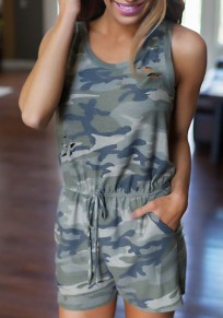 Army Green Camouflage Hollow-out Drawstring Round Neck Sleeveless Casual Short Jumpsuit