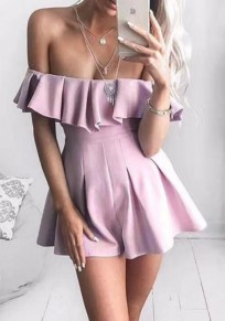 Pink Zipper Ruffle Sewing Mid-rise Fashion Short Jumpsuit