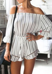 White Striped Hollow-out Drawstring Waist Mid-rise Fashion Short Jumpsuit