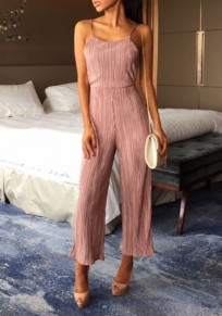 Pink Backless Condole Belt Tie Back Fashion Long Jumpsuit