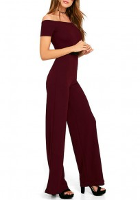 Wine Red Sashes Draped Sewing High Waisted Long Jumpsuit