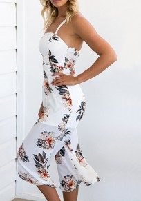 White Flowers Spaghetti Strap High Waisted Wide Leg Seven's Jumpsuit