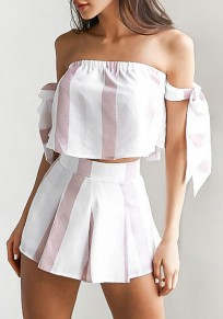 Pink-White Striped Pleated 2-in-1 Lace-Up Off Shoulder Short Jumpsuit