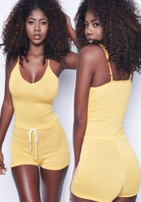 Yellow Spaghetti Strap Backless Drawstring Casual Stretchy Bodysuit Romper Playsuit