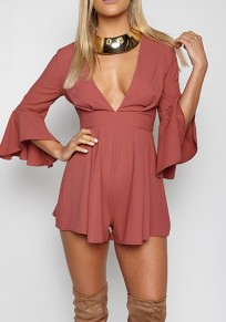 Red Ruffle Tie Back Flare Sleeve High Waisted Short Jumpsuit