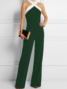 Green Patchwork Zipper Sewing Mid-rise Fashion Long Jumpsuit