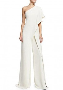 White Asymmetric Shoulder Ruffle Irregular High Waisted Wide Leg Long Jumpsuit