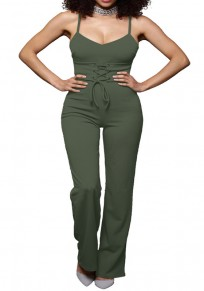 Army Green Lace-up Spaghetti Strap Drawstring Waist One Piece Slim Long Jumpsuit