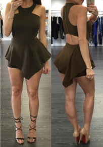 Black Irregular Zipper Cut Out Fashion Short Jumpsuit