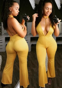 Yellow Cross Back Halter Neck Backless High Waisted Club Long Jumpsuit