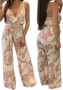 Pink Floral Leaves Print Backless Spaghetti Strap Wide Leg Jumpsuit
