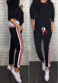 Black Striped Pockets 2-in-1 Drawstring Mid-rise Long Jumpsuit