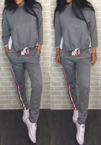 Grey Patchwork 2-in-1 Pockets Drawstring Sports Long Jumpsuit
