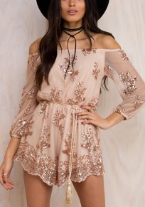 Golden Floral Sequin Grenadine Off Shoulder Casual Short Jumpsuit