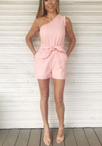 Pink Plain Pockets Sashes Casual Short Jumpsuit