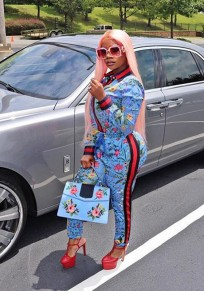 Blue Floral Print Two Piece High Waisted Long Sleeve Denim Long Jumpsuit