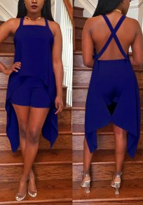 Royal Blue Cross Back Backless Irregular High Waisted Homecoming Party Short Jumpsuit