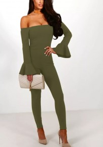Green Plain Ruffle High Waisted Fashion Long Jumpsuit