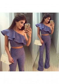Light Purple Plain Ruffle 2-in-1 Fashion Long Jumpsuit