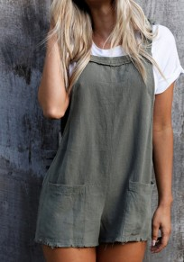 Grey Condole Belt Pockets Elastic Waist Casual Short Jumpsuit