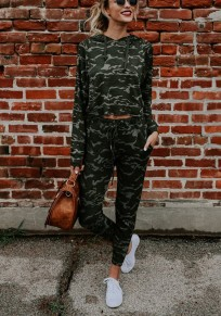 Green Camouflage Drawstring Pockets Sports Long Jumpsuit