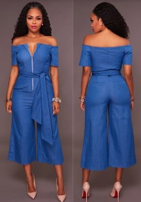 Blue Sashes Zipper Off Shoulder Backless Wide Leg Denim Nine's Jumpsuit