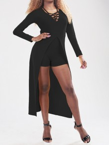 Black Cut Out Slit Cross Lace Up Romper With Maxi Overlay Short Jumpsuit