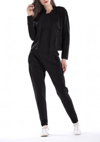 Black 2-in-1 Pockets Round Neck Long Sleeve Casual Long Jumpsuit