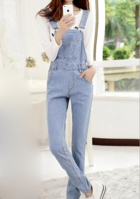 Light Blue Plain Pockets Denim Fashion Nine's Long Jumpsuit