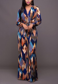 Blue Geometric Print Sashes Deep V-neck High Waisted Wide Leg Long Jumpsuit