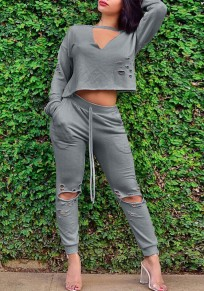 Grey 2-in-1 Cut Out Crop V-neck Long Sleeve Drawstring Waist Fashion Long Jumpsuit