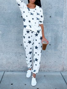 White Galaxy Print 2-in-1 Elastic Waist High Waisted Fashion Long Jumpsuit