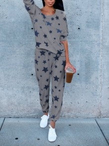 Grey Galaxy Print 2-in-1 Elastic Waist High Waisted Fashion Long Jumpsuit